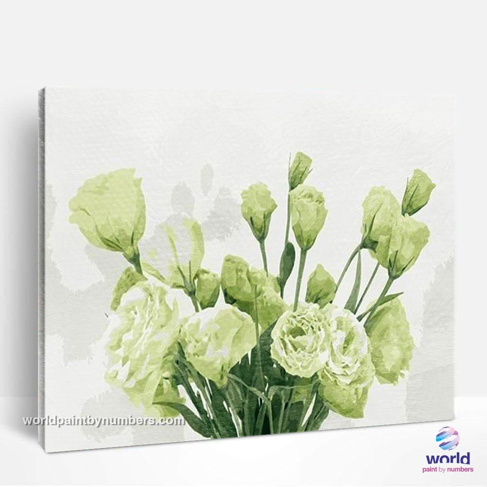 White & Green Roses - Leaf Collection - World Paint by Numbers™ Kits DIY