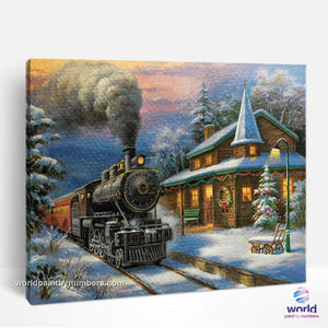 Winter Holidays Steam Train - World Paint by Numbers™ Kits DIY