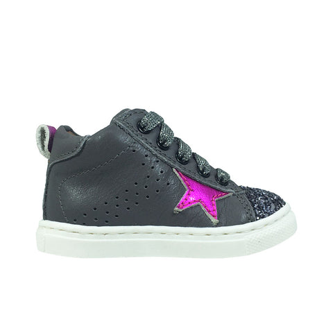 Sneakers con punta in glitter e zip