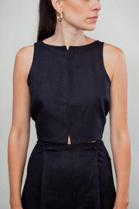 Linen Tuxedo Top in Black