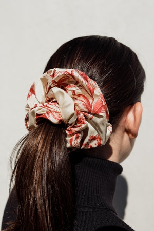 Over-Sized Scrunchie in Red and White Silk