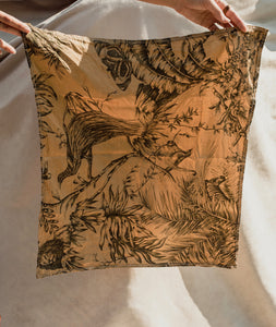 Furoshiki Bag– Raw Silk Botany Print in Green