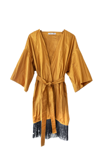 Silk Robe Dress in Gold
