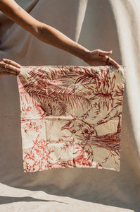 Furoshiki bag- Raw Silk Botany Print in Rust