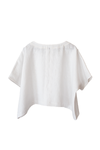 Sleeved Linen Fishing Top in Salt