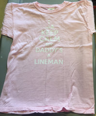 Keep Calm My Daddy's A Lineman (Blue and Pink)