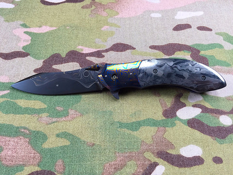 Peter Martin Moku-Ti and Marbled Carbon Fiber flipper- Free Shipping