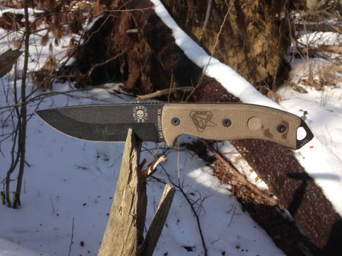Ontario RAT-5 Tan Handle w/ sheath