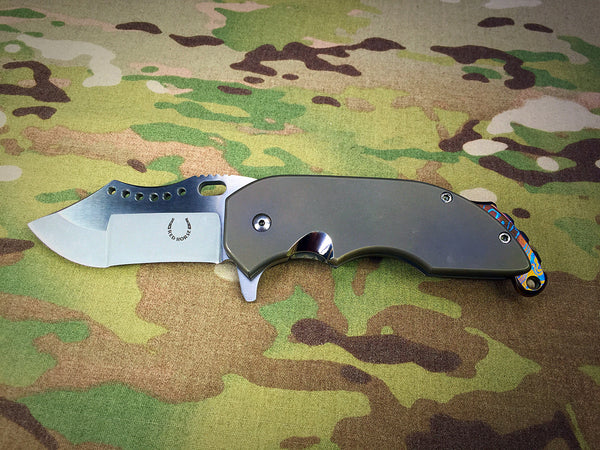 Red Horse Knives Full Titanium War Pig with Timascus - Free Shipping