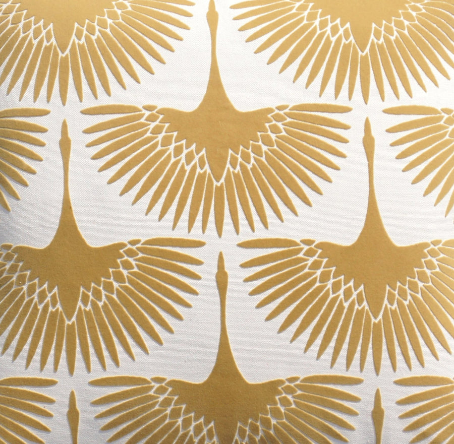 Genevieve Gorder Flock Oro Gold Velvet Fabric - Fabric Headquarters