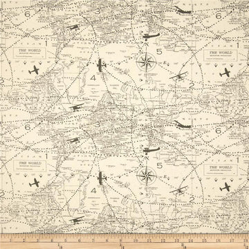 Premier Prints Air Traffic Felix Natural Aviation Map Themed Fabric - Fabric Headquarters