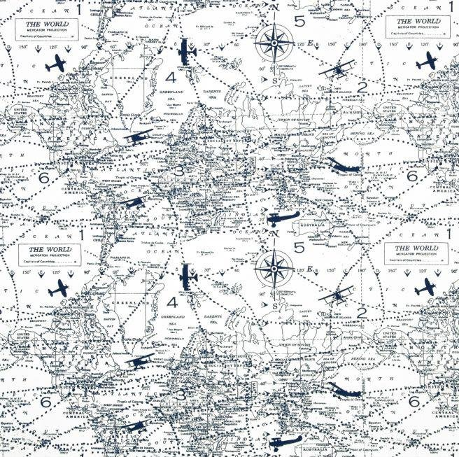 Premier Prints Air Traffic Navy Blue Aviation Fabric - Fabric Headquarters