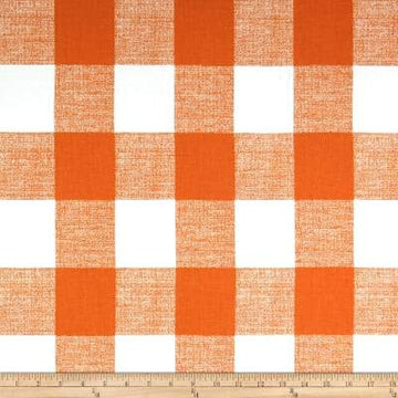 Premier Prints Anderson Monarch Orange Buffalo Check Fabric - Fabric Headquarters