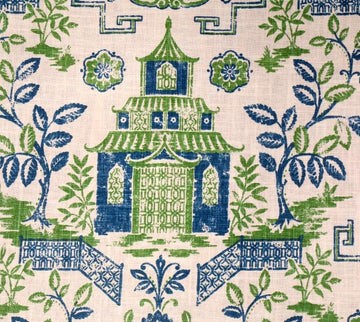 Richloom Tea House Kelly Green Chinoiserie Toile Fabric - Fabric Headquarters