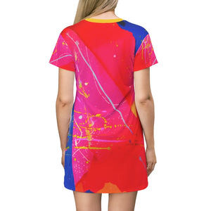 dk Vertical Pool: The Queen City at Sunset All Over Print T-Shirt Dress