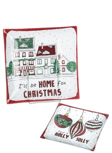 GLASS HOLIDAY PLATE SET/2