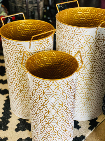 Modern Whitewashed  Gold Pattern Brass Metal Bin
