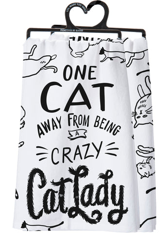 Dish Towel - Away From Being A Crazy Cat Lady