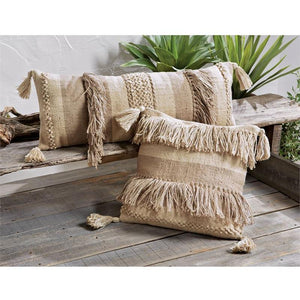 Jute Fringe Stripe Pillow