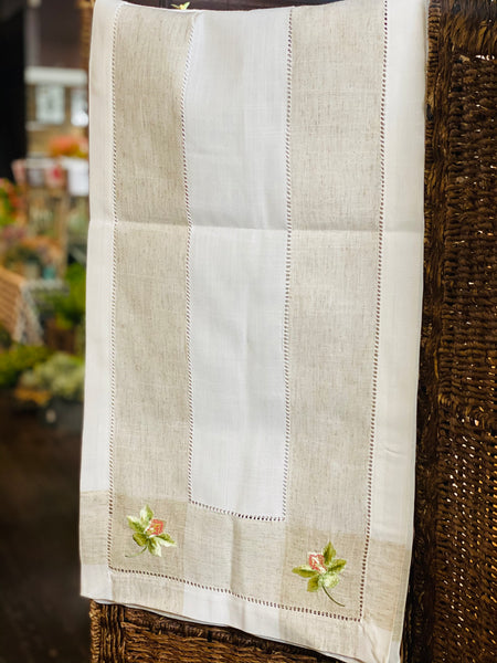 "15"" x 70"" EMBROIDERED  ORCHID HEMSTITCH TABLE RUNNER"