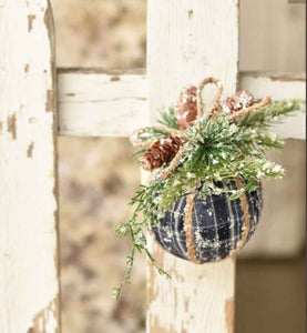 BLUE Pine & Plaid Ornament | 5.5""