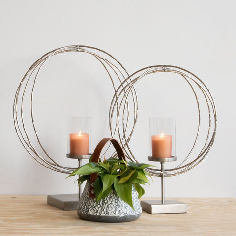 HAMMERED RING CANDLE HOLDERS