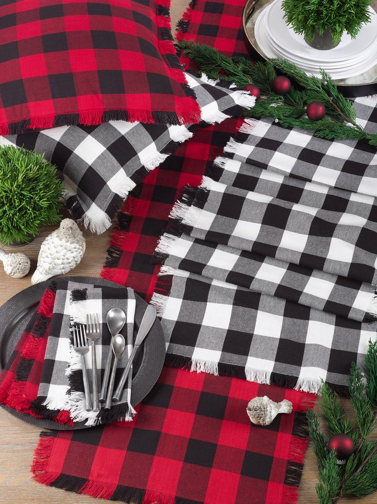 Fringed Buffalo Black Plaid Table Runner