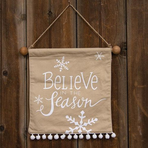 BELIEVE IN THE SEASON POM POM BANNER