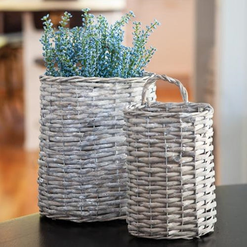 Gray Willow Oval Basket Large