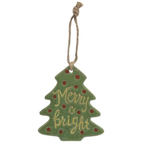 Merry and Bright Ceramic Tree Orn