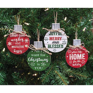 SET/4 Wooden Christmas Phrase Ball Ornament