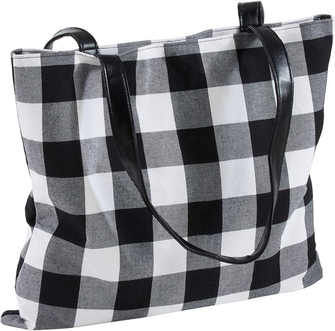 Black Buffalo Plaid Tote