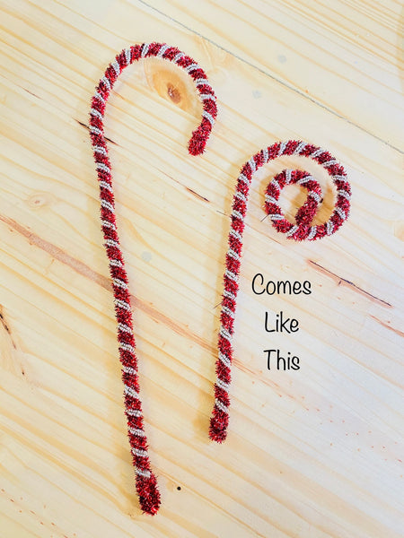 "10.5"" - 15""  Tinsel + Beaded Candy Cane"
