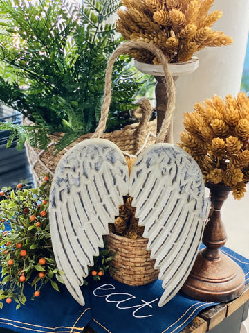 Distressed Tin Angel Wings Hanging Decor
