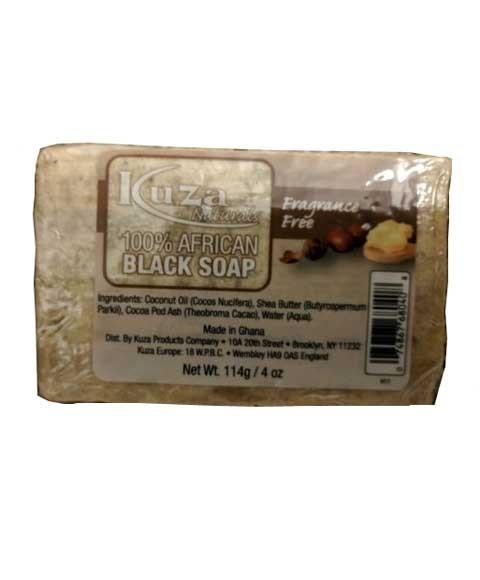 KUZA 100 PERCENT AFRICAN BLACK SOAP FRAGRANCE FREE 4OZ - merry poppins beauty