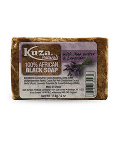 KUZA HUNDRED PERCENT AFRICAN BLACK SOAP WITH SHEA BUTTER LAVENDER 114G - merry poppins beauty