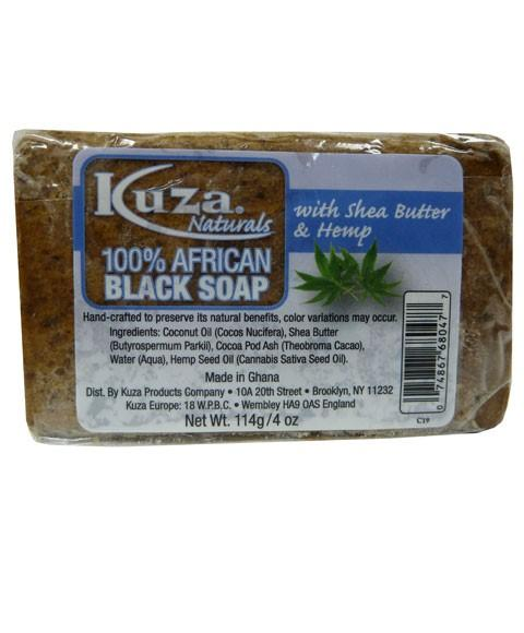 KUZA 100 PERCENT AFRICAN BLACK SOAP WITH SHEA BUTTER AND HEMP 4OZ - merry poppins beauty