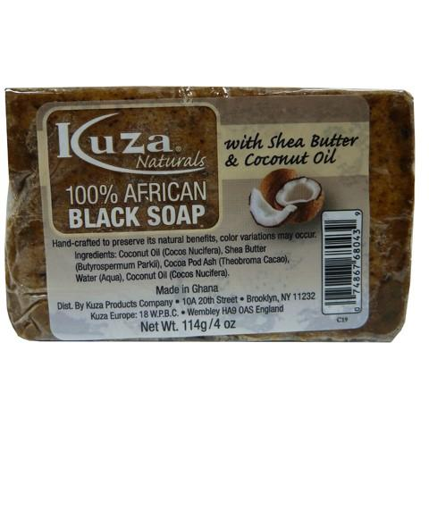 KUZA 100 PERCENT AFRICAN BLACK SOAP WITH SHEA BUTTER AND COCONUT OIL 4OZ - merry poppins beauty
