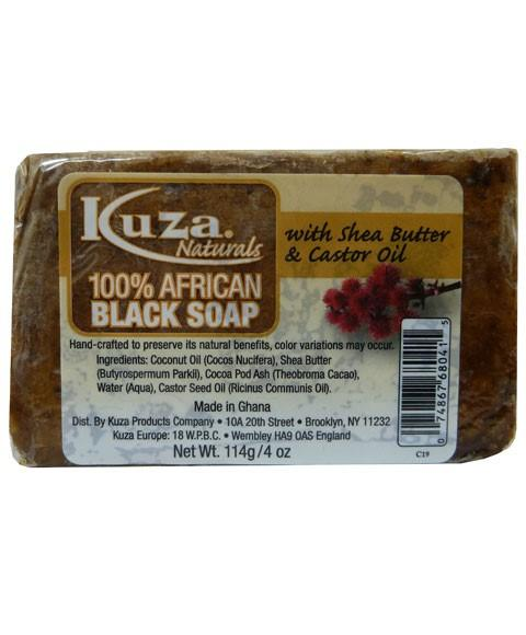 KUZA 100 PERCENT AFRICAN BLACK SOAP WITH SHEA BUTTER AND CASTOR OIL 4OZ - merry poppins beauty