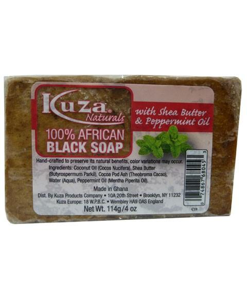 KUZA 100 PERCENT AFRICAN BLACK SOAP WITH SHEA BUTTER AND PEPPERMINT OIL 4OZ - merry poppins beauty