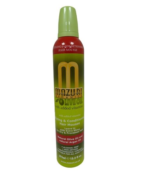 MAZURI OLIVE OIL STYLING AND CONDITIONING HAIR MOUSSE 375ML - merry poppins beauty