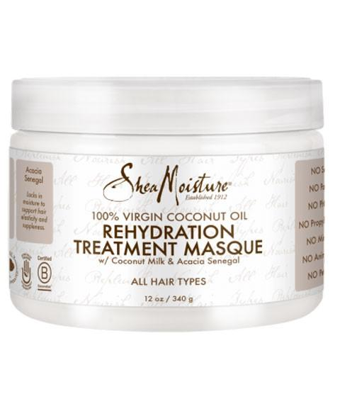 SHEA MOISTURE 100 PERCENT VIRGIN COCONUT OIL REHYDRATION TREATMENT MASQUE 12OZ - merry poppins beauty