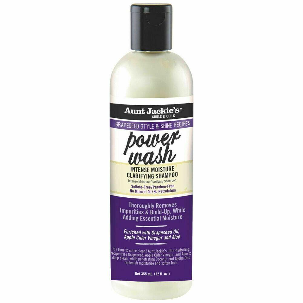AUNT JACKIE GRAPESEED STYLE POWER WASH INTENSE MOISTURE CLARIFYING SHAMPOO 12OZ - merry poppins beauty