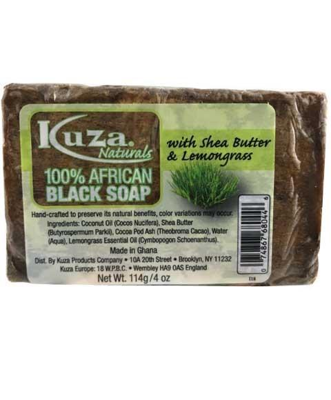 KUZA 100 PERCENT AFRICAN BLACK SOAP WITH SHEA BUTTER AND LEMONGRASS 4OZ - merry poppins beauty