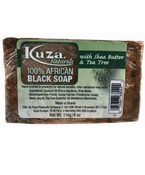 KUZA 100 PERCENT AFRICAN BLACK SOAP WITH SHEA BUTTER AND TEA TREE 4OZ - merry poppins beauty