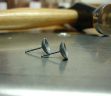 Load image into Gallery viewer, Darkened Sterling Silver Stud Cups - Little Moons 8.5 mm - Amalia Moon Jewelry