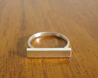 Minimal Delicate Sterling Silver Bar Ring