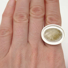 Load image into Gallery viewer, Oval Quartz Big Silver Ring Size 8 1/2 - Amalia Moon Jewelry