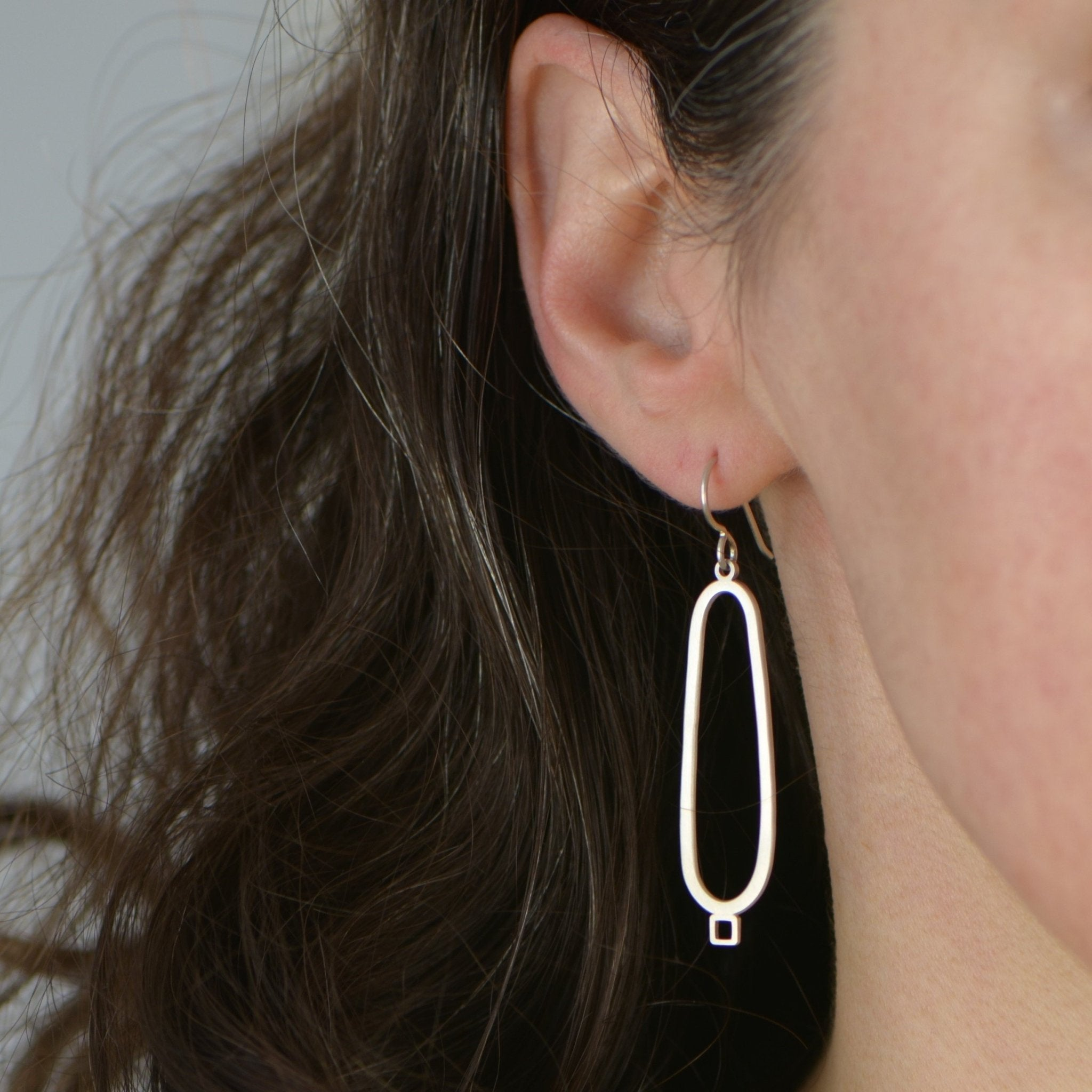 Oval With Square Detail Dangle Earrings - Amalia Moon Jewelry
