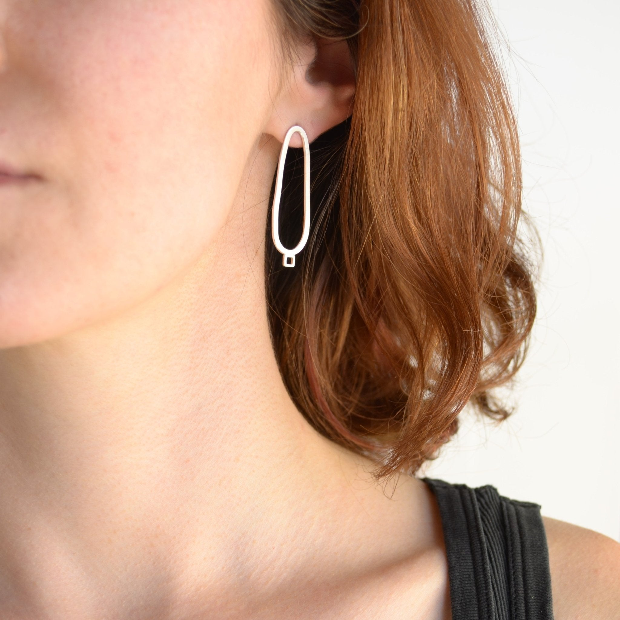 Oval With Square Detail Post Earrings - Amalia Moon Jewelry